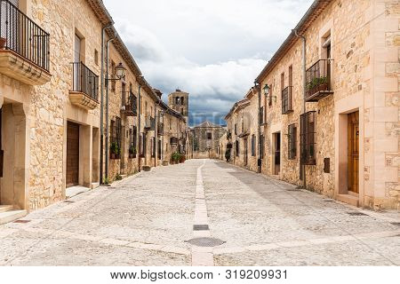 poster of Typical street in the historical town of Pedraza. Segovia. Spain.