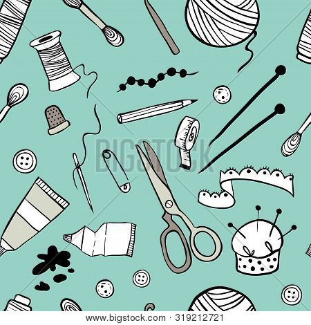 Handmade Kit Icons Seamless Pattern. Sewing, Needlework, Painting, Knitting. Arts And Crafts Hand Dr