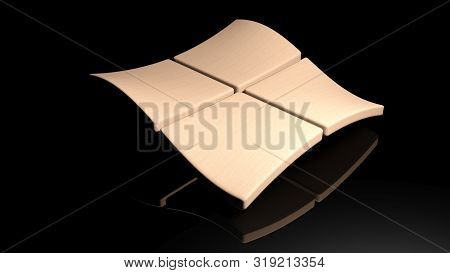 Wooden Waving Squares On Black Glossy Background - 3d Rendering Illustration
