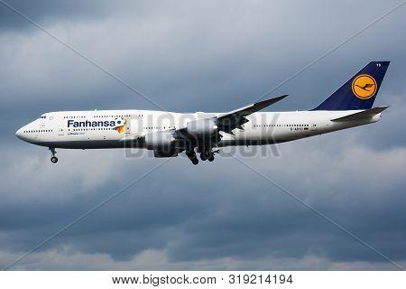 Frankfurt / Germany - August 17, 2014: Lufthansa Special Sticker Boeing 747-8 D-abyo Passenger Plane