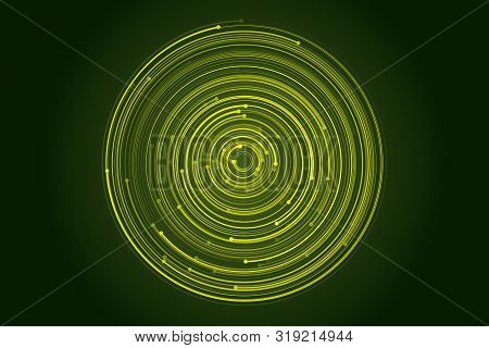 Abstract Circular Galaxy Motion, Orbit Effect Illustration. Cyber Security Concept Digital Design. V