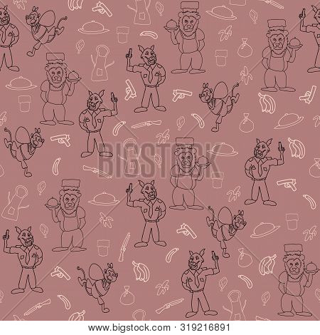 Vector Onion Pink Anthropomorphic Cartoon Characters In Action Seamless Pattern Background