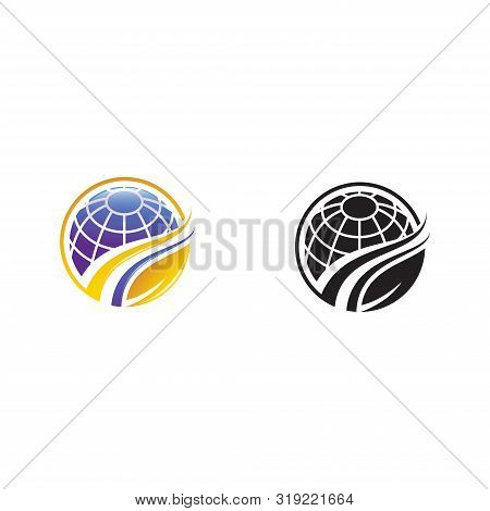 Vector Of An Earth And Leaf Logo Combination. Planet And Eco Symbol Or Icon. Unique Global And Natur