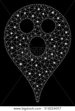 Glowing Mesh Surprized Smiley Map Marker With Glitter Effect. Abstract Illuminated Model Of Surprize
