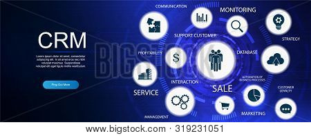 Customer Relationship Management. Crm Banner With Keywords And Icons. Customer Relationship Manageme