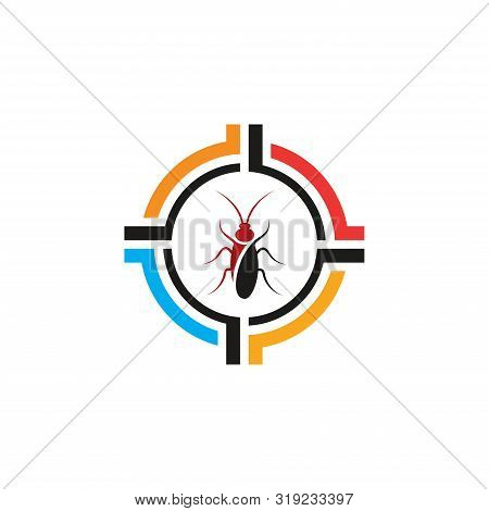 Simple Logo For Insect Killer Modern Logo Design, Cockroach In Target Icon In Trendy Flat Style Isol