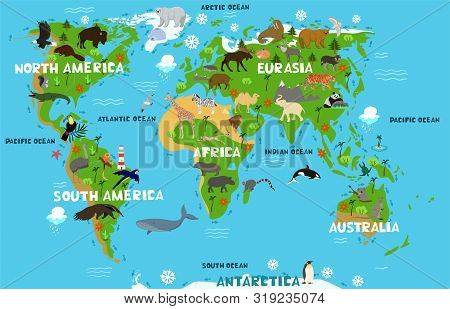 Children S World Map With The Names Of Continents And Oceans. Animals On The Mainland. Vector Image
