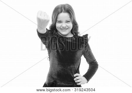 Feel My Power. Girl Kid Threatening With Fist Isolated On White. Strong Temper. Threatening With Phy