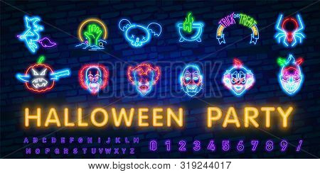 Halloween Neon Sign Vector. Trick Or Treat Halloween Design Template With Ghost And Web For Banner,