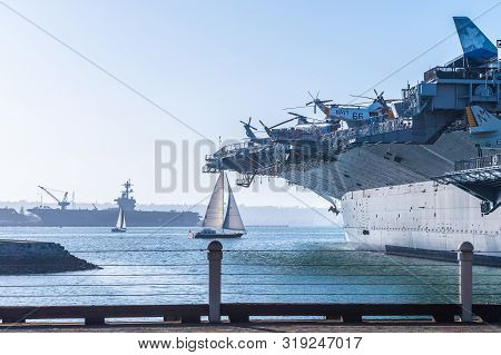 San Diego, California - October 09 2017: The Uss Midway Museum, A Historical Naval Aircraft Carrier