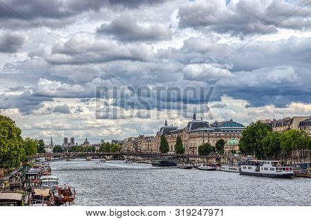 Paris, France - August 13 2019: Musee Dorsay On A Cloudy Day. The Musee Dorsay Is A French Impressio
