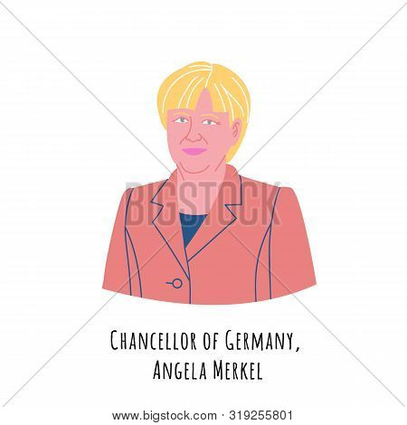Angela Merkel Hand Drawn Color Portrait Illustration. The Federal Republic Of Germany Chancellor. Re
