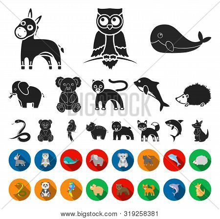 An Unrealistic Animal Black, Flat Icons In Set Collection For Design. Toy Animals Bitmap Symbol Stoc