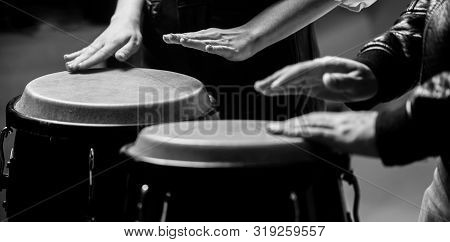 Afro Cuba, Rum, Drummer, Fingers, Hand, Hit. Drum. Hands Of A Musician Playing On Bongs. The Musicia