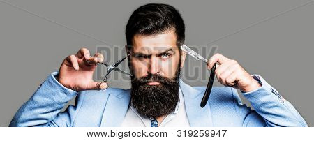 Beard Man, Bearded Male. Portrait Beard Man. Barber Scissors And Straight Razor, Barber Shop, Suit.