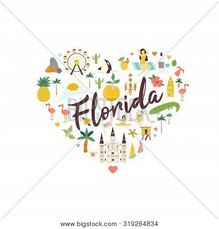 Bright Abstract Design With Florida Famous Places