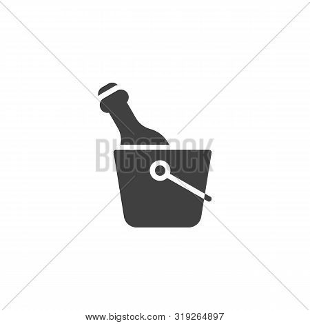 Champagne Bottle In The Ice Bucket Vector Icon. Filled Flat Sign For Mobile Concept And Web Design.