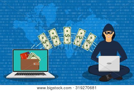 Cyber Thief, Internet Scammer. Thief Steals Money From Online Wallet, Credit Card. Poster For Web Pa