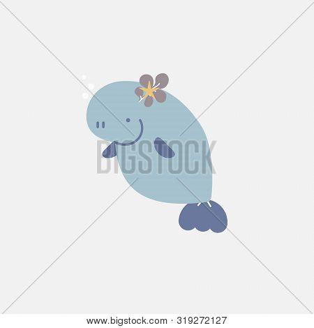 Cute Aquatic Animal Wildlife Underwater Deep Sea Fish, Sea Cow, Manatee, Dugong, Logo Label Sticker,