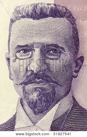SERBIA - CIRCA 2005: Stevan Stojanovic Mokranjac (1856-1914) on 50 Dinara 2005 Banknote from Serbia. Serbian composer and music educator.