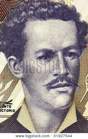 ECUADOR - CIRCA 1999: Juan Montalvo (1832-1889) on 5000 Sucres 1999 Banknote from Ecuador. Ecuadorian author and essayist.