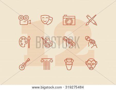 Fine And Popular Arts Icon. Set Of Line Icons On White Background. Theater, Painting, Music, Cinema,