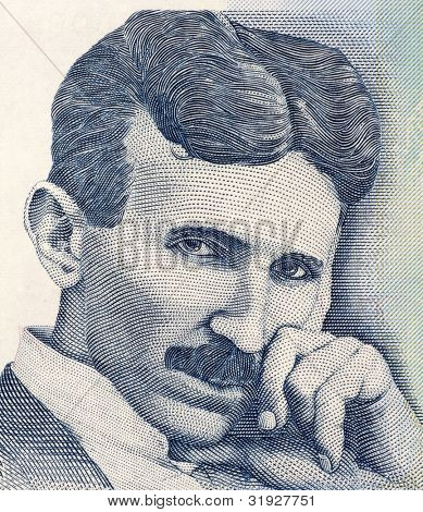 SERBIA - CIRCA 2006: Nikola Tesla on 100 Dinara 2006 Banknote from Serbia. Best known as the Father of Physics.