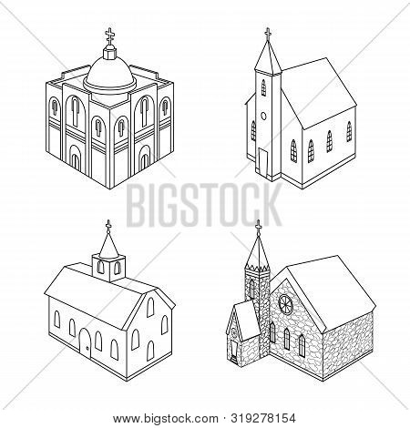 Vector Design Of Architecture And Building Icon. Set Of Architecture And Clergy Vector Icon For Stoc