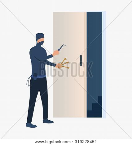 Burglar Unlocking Door. Car Burglary, Thieves, Criminals Wearing Black Clothes. Crime Concept. Vecto