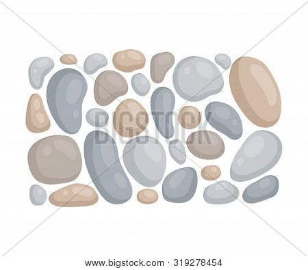 Cobblestone Garden Path. View From Above. Vector Illustration On A White Background.