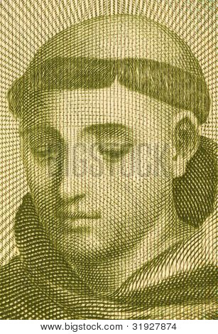 PORTUGAL - CIRCA 1964: Anthony of Padua (1195-1231) on 20 Escudos 1964 banknote from Portugal. Portuguese Catholic priest of the Franciscan Order.