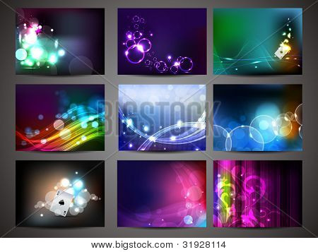 Vector illustration set of shiny and colorful creative abstract background, EPS 10.