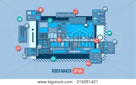 Mobile Video Editor Flat Vector Concept. Motion Design Studio, Video Editor App, Creating Video Onli