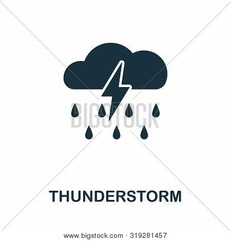 Thunderstorm Vector Icon Symbol. Creative Sign From Thunderstorm Icons Collection. Filled Flat Thund
