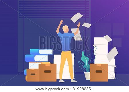 Office Man Dealing With Paper Work. Mess, Paper Piles, Employer. Unorganized Office Work Concept. Ve