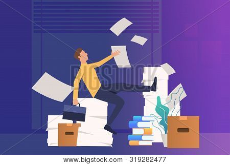 Office Man Doing Paper Work. Mess, Paper Piles, Employer. Unorganized Office Work Concept. Vector Il