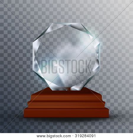 Modern Reflection Blank Glass Trophy Award Vector. Concept Of Glossy Blank Round Trophy On Wooden Pe
