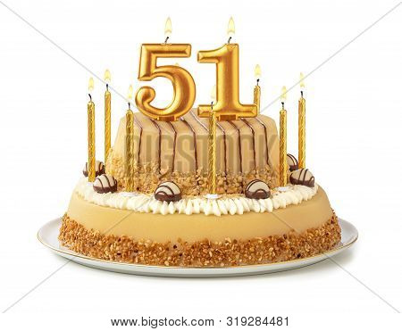 Festive Cake With Golden Candles - Number 51