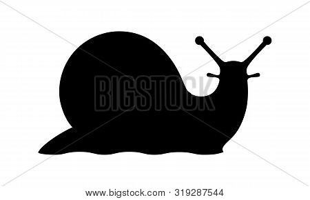 Snail Graphic Icon. Snail Symbol. Snail Black Silhouette Isolated On White Background. Logo. Vector