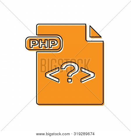 Orange Php File Document. Download Php Button Icon Isolated On White Background. Php File Symbol. Ve