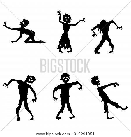 Zombie Silhouette Collection Set With White Background