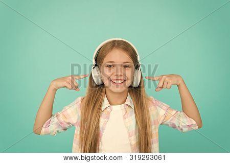 Learn Song Lyrics. Clear Sound. Girl Child Listen Music With Modern Headphones. Kid Little Girl List