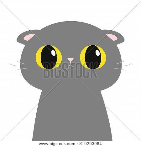 British Shorthair Cat Round Head Face, Body. Cute Funny Cartoon Character. Big Yellow Eyes. Sad Emot