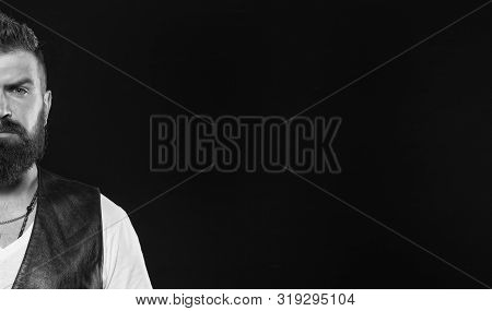 Masculine Pride. Masculine Guy Half Side On Black Background. Bearded Man With Masculine Look. Hipst