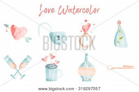 Watercolor Vector Set. Love Design Elements Isolated. Save The Date Card. Wedding Invitation Card Te