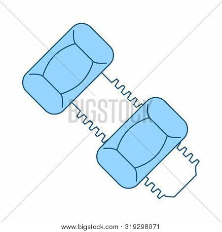 Icon Of Bolt And Nut. Thin Line With Blue Fill Design. Vector Illustration.