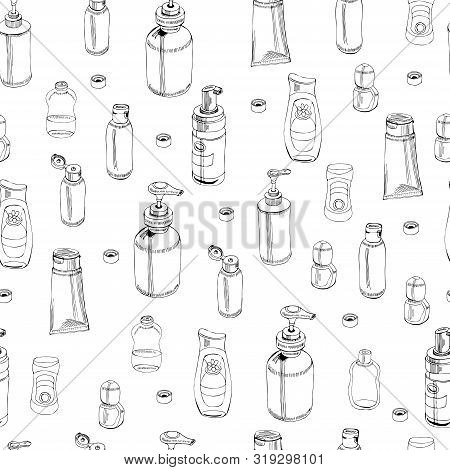 Seamless Pattern With  Hand Drawn Sketch Of Cosmetic Package. Bottle, Tube, Flask. Monochrome Elemen