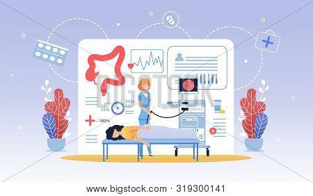 Informative Flyer Hydro Colonoscopy Cartoon Flat. Regular Visit To Doctor Prolongs Healthy Period Li