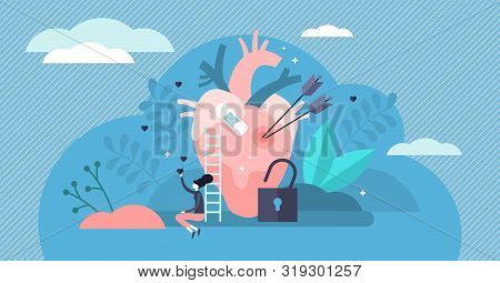 Vulnerable Vector Illustration. Flat Tiny Unsafe Feeling Persons Concept. Love Romance Sad Hurtful E