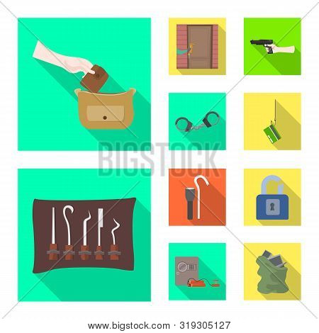 Isolated Object Of Crime And Steal Icon. Set Of Crime And Villain Vector Icon For Stock.